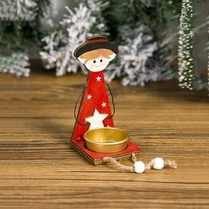 2 PCS Christmas Painted Metal Candlestick Accessories Scene Decoration(Boy )