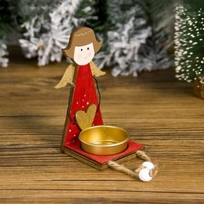 2 PCS Christmas Painted Metal Candlestick Accessories Scene Decoration(Girl )