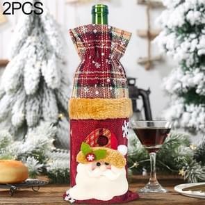2 PC'S ChristmasTable linnen Snowflake Santa Claus Champagne rode wijn fles set decoratie (oude man)