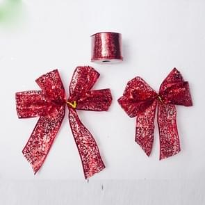 2 rollen kerst pailletten lint Bow ornament (rode pailletten)