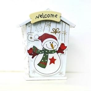 2 PCS Christmas Creative Wooden Cartoon Piggy Bank Decoration Ornaments( White Christmas Snowman )