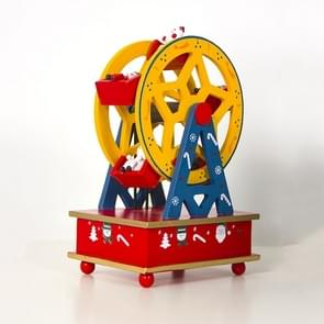 2 PC'S kerst hout geschilderd reuzenrad muziekdoos ornamenten kinderen Gift (geel)
