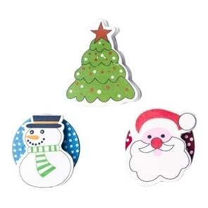 3 PCS Christmas Decorations Wooden Painted Cartoon Christmas Creative Notes Small Clips christmas tree + old man + snowman