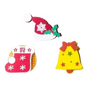 3 PCS Christmas Decorations Wooden Painted Cartoon Christmas Creative Notes Small Clips socks + bells + christmas hats