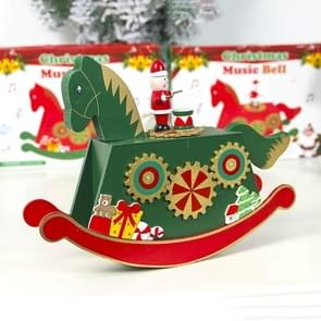 2 PCS Christmas Painted Wooden Horse Music Box Decoration(Green)