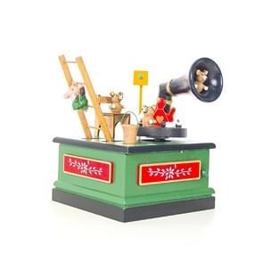 2 PC'S kerst houten geschilderde muziekdoos cartoon radio vorm muziekdoos decoratie (groen)
