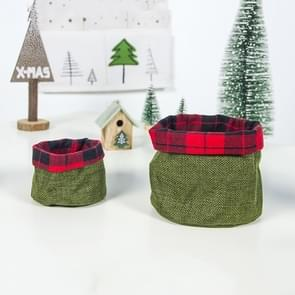 2 Sets Christmas Eve Cloth Mini Candy Apple Storage Basket Decoration(Green)