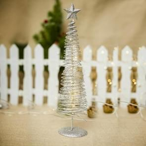 2 PCS Christmas Decoration Glowing Christmas Tree Decorations Creative Round Light Metal Decorations Christmas Decorations( Silver )