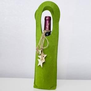 2 PC'S creatieve kerst voelde rode wijn fles set (groen)