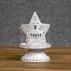 SD275 2 PC'S kerstversiering kandelaar smeedijzeren holle kerst kaars houder ornamenten (ster)