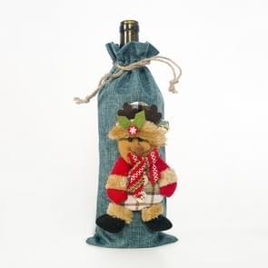 2 PC'S kerst jute wijn Champagne fles set pop decoratie (blauwe elanden)