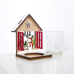 2 stks kerst decoratie houten driedimensionale cabine kandelaar creatieve geschilderde kerstboom ornamenten (sneeuwpop)