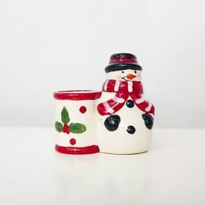2 PCS Christmas Ceramic Toothpick Holder Desktop Decoration Santa Claus Snowman Creative Toothpick Holder(Christmas snowman)