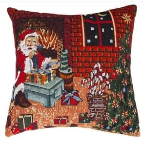Christmas Gift Cartoon Linen Pillow Pillowcase, Without Pillow(Elderly Section )