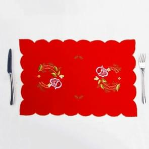 2 PC'S kerst placemat borduurwerk tabel mes en vork mat (Santa Claus)