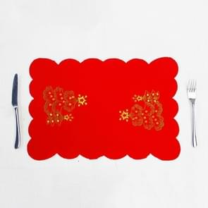 2 PCS Christmas Placemat Embroidery Table Knife and Fork Mat( Christmas Tree Santa Claus)