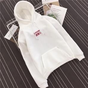Lange mouw brief borduurwerk Hooded Sweatshirt causale losse hip hop Streetwear  maat: L (wit)