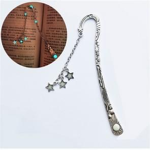 Lichtgevende Zon Moon Star Bookmark Retro Pentagram Gloeiende Metalen Bookmark (Ancient Silver Stars)