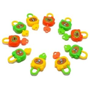 10 PCS Colorful Plastic Cartoon Toy Lock for Kids with Keys Birthday Toy, Random Color Delivery