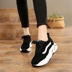 Women Thick Soles Frosted Sneakers Shoes, Size:37(Black)