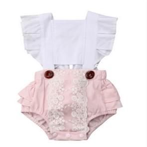 Summer Newborn Babies Ruffled Sleeves Back Straps Jumpsuit Romper, Kid Size: 100cm(Pink)