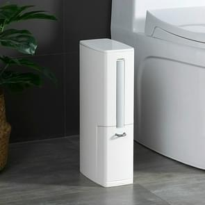 Bathroom Trash Can Toilet Brush Set Toilet Garbage Container(White)