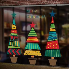Colorful Cartoon Christmas Tree Wall Sticker Shop Window Living Room Christmas Decoration