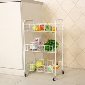 Creative Home Three-storey Trolley Folding Mobile Clutter Storage Fruit Kitchen Vegetable Rack Kitchen Cart