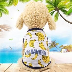 Huisdier fruit print T-shirt puppy hond kat cute fruit rok  maat: XS (vest-banaan)