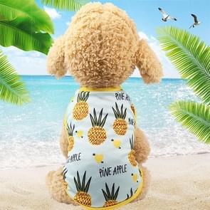 Huisdier fruit print T-shirt puppy hond kat cute fruit rok  maat: M (vest-ananas)