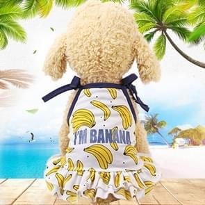 Huisdier fruit print T-shirt puppy hond kat cute fruit rok  maat: M (rok-banaan)