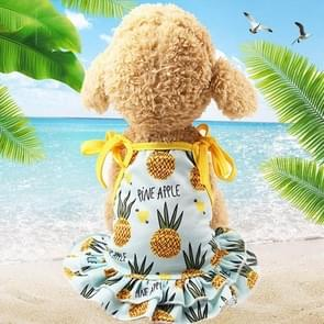 Huisdier fruit print T-shirt puppy hond kat cute fruit rok  maat: L (rok-ananas)