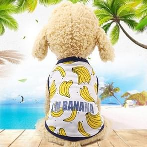 Huisdier fruit print T-shirt puppy hond kat cute fruit rok  maat: XL (vest-banaan)