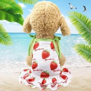 Huisdier fruit print T-shirt puppy hond kat cute fruit rok  maat: XL (rok-aardbei)