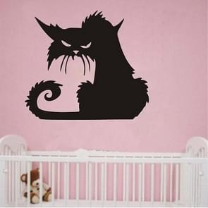 2 Sets Halloween Scary Black Cat Glass Wall Sticker Decoration, Size:15X13 CM