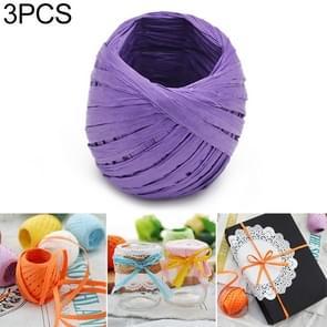 3 stuks 20M papier touw Raffia lint natuurlijke Lace touw gift box wrapping DIY decoratie (paars)