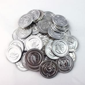 Children Pirate Treasure Toys Treasure Hunting Game Props Pirate gold Coin silver Coin copper  Coin toys(Silver)