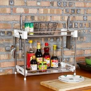 Stainless Steel Trolley Storage Rack Multi-function Kitchen Toilet Storage Finishing Rack, Number of Layers:Two Layers