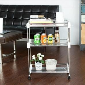Stainless Steel Trolley Storage Rack Multi-function Kitchen Toilet Storage Finishing Rack, Number of Layers:Three Layers