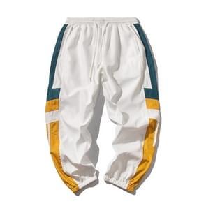 Joggers sweatpants mannen casual gestreepte broek Fashion losse track broek Streetwear  maat: L (wit)