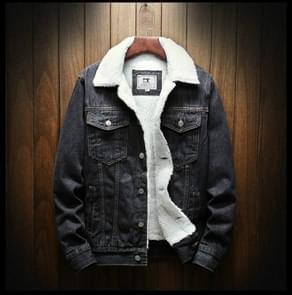 Mannen winter wol liner Jean jassen bovenkleding warme denim jassen  maat: L (zwart)