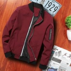 Mannen rits jas mannelijke casual Streetwear hip hop slim fit pilot jas mannen kleding  grootte: XXXL (wijn rood)