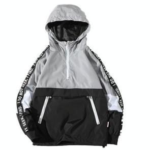 Herfst winter losse Hooded Assault jas mannen groot formaat jas rits Hooded uitloper vacht 3XL (grijs)