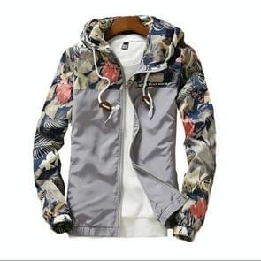 Floral Bomber jas mannen hip hop slim fit bloemen pilot Bomber jas jas mannen Hooded jassen  grootte: XXXL (zilver)