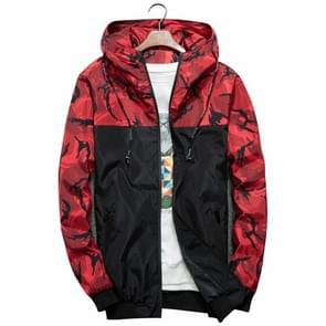 Men Bomber Jacket Thin Slim Long Sleeve Camouflage Military Jackets Hooded  Size: XL(Red)