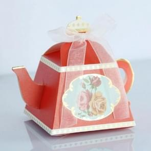 50 PCS Creative Hot Teapot Shape Wedding Candy Box Afternoon Tea Pastry Box(Red)