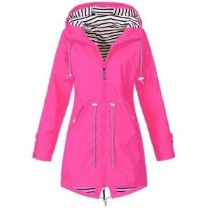 Vrouwen waterdichte regen jas Hooded regenjas  grootte: XL (Rose rood)