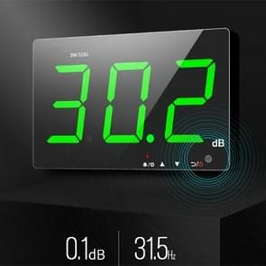 SNDWAY Wall-mounted 30~130dB Large Screen Digital Display Noise Decibel Monitoring Testers, Specification:SW525G with Storage + USB Green