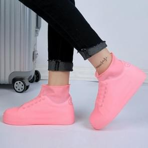 2 Pairs Waterproof Shoe Cover Raincoat Non-slip Reusable Silicone Insole Shoe Slip Rainshoes Cover, Size:M(Pink(Short Tube))