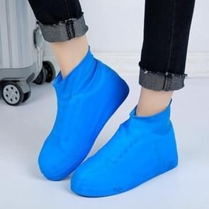 2 Pairs Waterproof Shoe Cover Raincoat Non-slip Reusable Silicone Insole Shoe Slip Rainshoes Cover, Size:L(Blue(Short Tube))